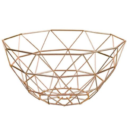 Geometric Wire Fruit Basket Copper